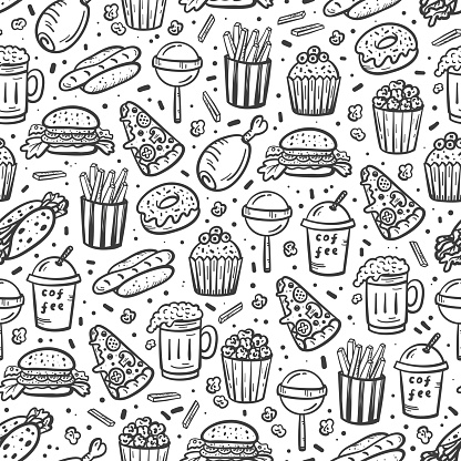 Fast Food Outline Icons Seamless Pattern. Doodle Unhealthy Street Food Black and White Vector Background