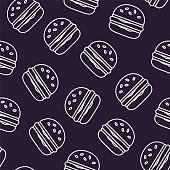Fast food pattern with contour burgers on black background. Thin line flat design. Vector.