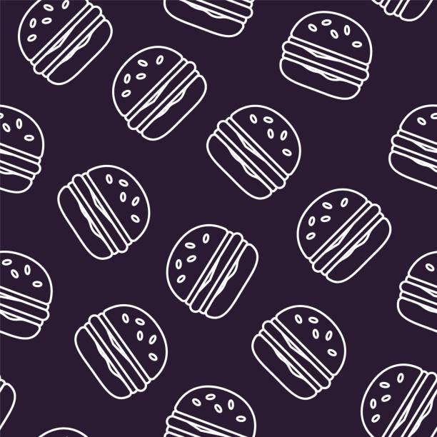 illustrazioni stock, clip art, cartoni animati e icone di tendenza di fast food pattern with contour burgers on black background. thin line flat design. vector. - hamburger
