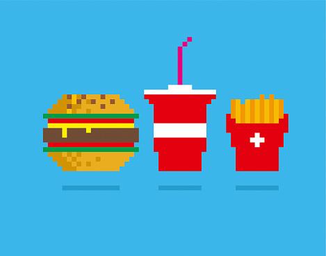 Fast food pixel illustration
