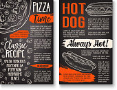 Fast food pizza and hot dog sandwich chalkboard poster. Italian pizza topping and hot dog ingredient menu template with tomato, olive and cheese, sausage, mushroom and sauce chalk sketch on blackboard