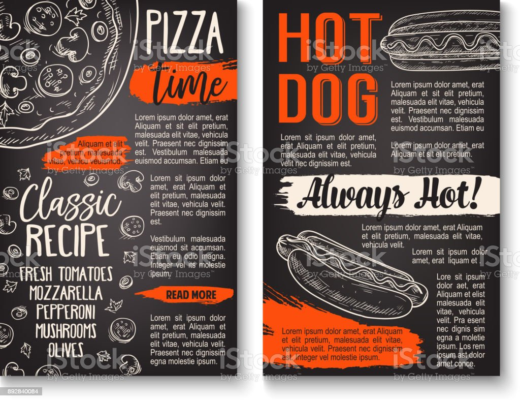 Fast food pizza and hot dog menu chalkboard poster vector art illustration