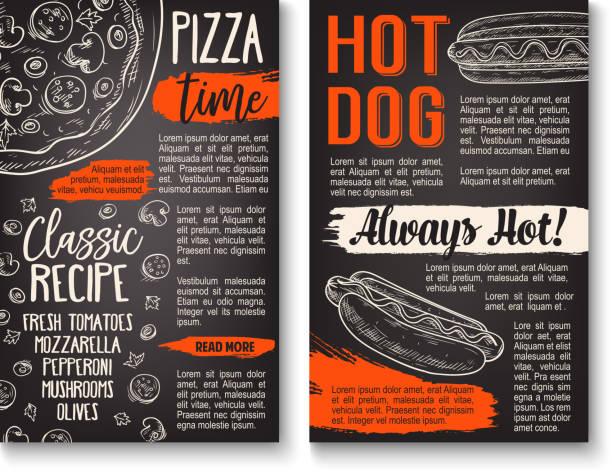 illustrazioni stock, clip art, cartoni animati e icone di tendenza di fast food pizza and hot dog menu chalkboard poster - menù