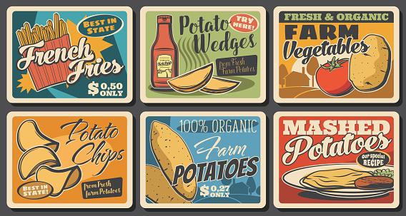 Fast food potato meals, vegetables farm banners