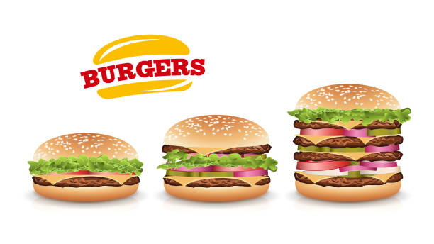 fast food realistic burger vector. set hamburger fast food sandwich emblem realistic isolated on white background illustration - cheeseburger stock illustrations