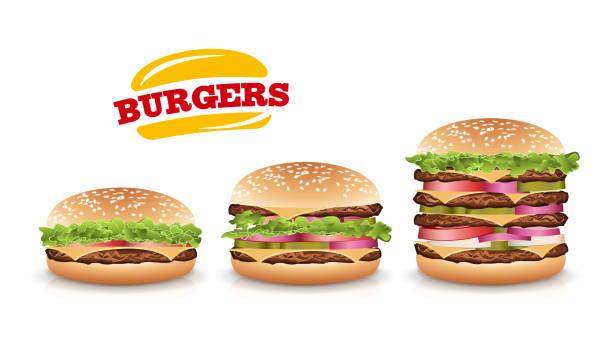 Fast Food Realistic Burger Vector. Set Hamburger Fast Food Sandwich Emblem Realistic Isolated On White Background Illustration Fast Food Realistic Burger Vector. Set Beautiful Realistic Icons Of Fast Food cheeseburger stock illustrations