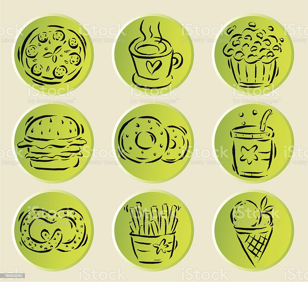 Fast Food related icons royalty-free stock vector art