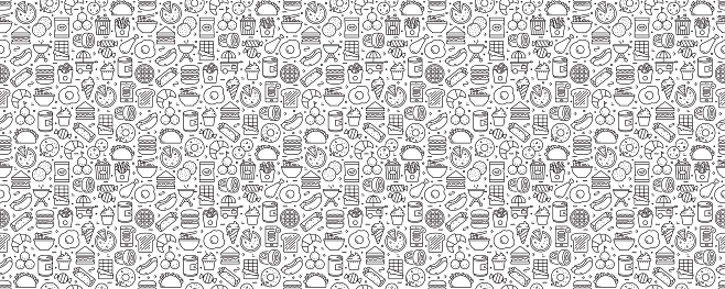 Fast Food Related Seamless Pattern and Background with Line Icons