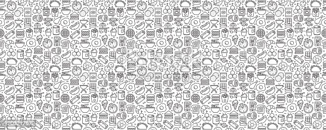 istock Fast Food Related Seamless Pattern and Background with Line Icons 1203217672