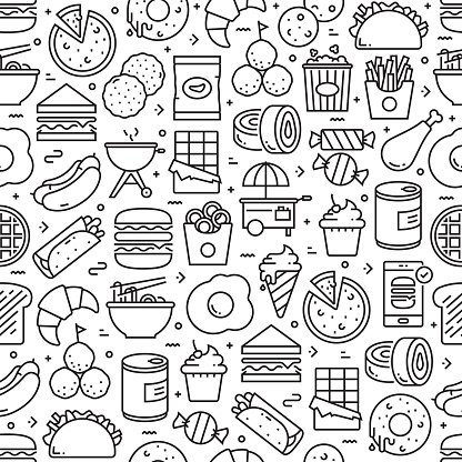 Fast Food Related Seamless Pattern and Background with Line Icons. Editable Stroke