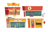 Fast food restaurant and shops building cartoon vector illustration. Facades of food markets and cafes or bistros with signboards. City small business storefront exterior isolated on white