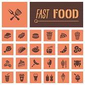 Fast food restaurant icon set