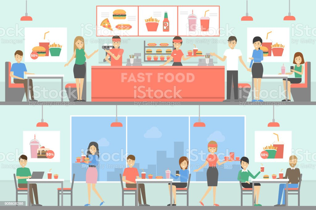 Fast food restaurant interior set with people. vector art illustration