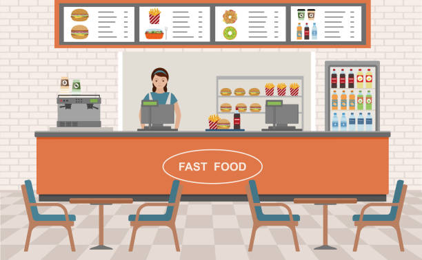 fast-food-restaurant-interieur. - salatbar stock-grafiken, -clipart, -cartoons und -symbole