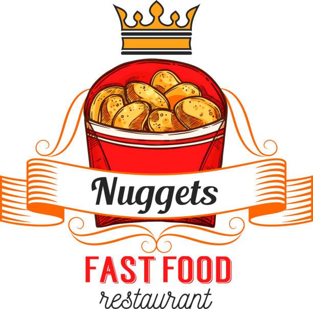 stockillustraties, clipart, cartoons en iconen met fast food restaurant label met kipnuggets - chicken bird in box