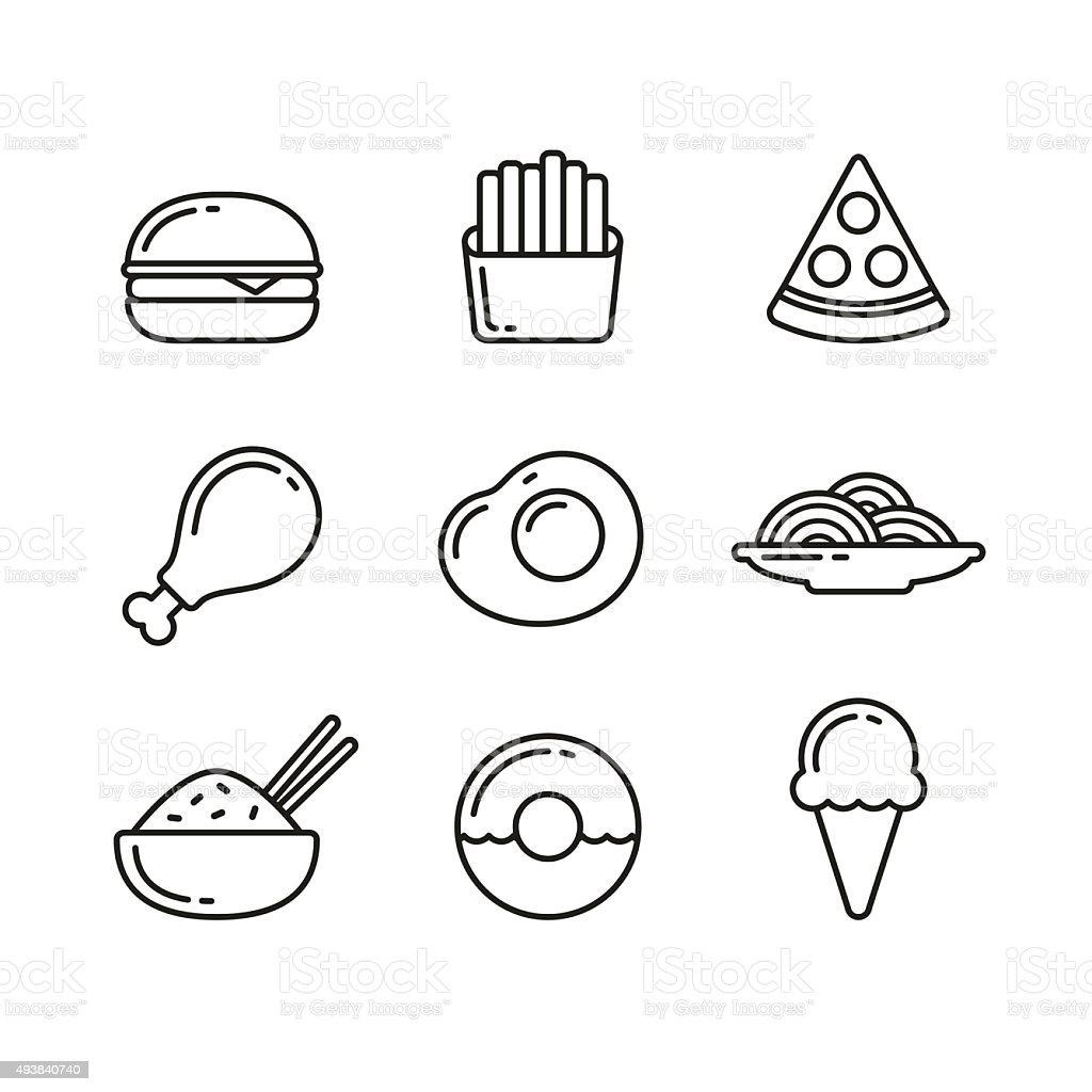 Fast food restaurant line icons vector art illustration