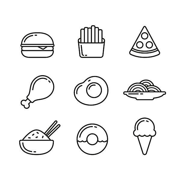Fast food restaurant line icons Fast food line icons. Restaurant and cafe meals and desserts. Vector illustration in thin outline style. bowl of ice cream stock illustrations