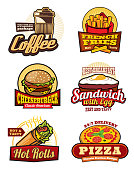 Fast food restaurant retro labels. Hamburger, pizza and french fries, cheeseburger, coffee, egg sandwich and mexican burrito isolated badge for cafe menu or food delivery service design