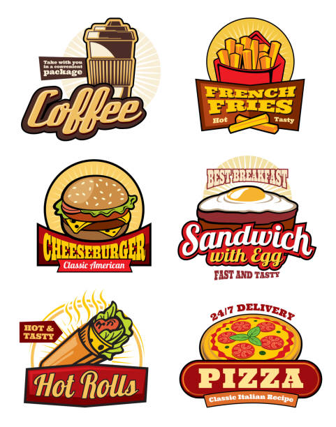 Fast food restaurant meal retro labels design Fast food restaurant retro labels. Hamburger, pizza and french fries, cheeseburger, coffee, egg sandwich and mexican burrito isolated badge for cafe menu or food delivery service design cheeseburger stock illustrations