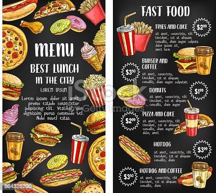 Fast food restaurant menu banner with fastfood lunch dishes list on chalkboard. Hamburger, hot dog, fries, soda, donut, coffee, pizza, cheeseburger, chicken, ice cream, popcorn chalk sketch poster