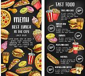 Fast food restaurant menu banner on chalkboard