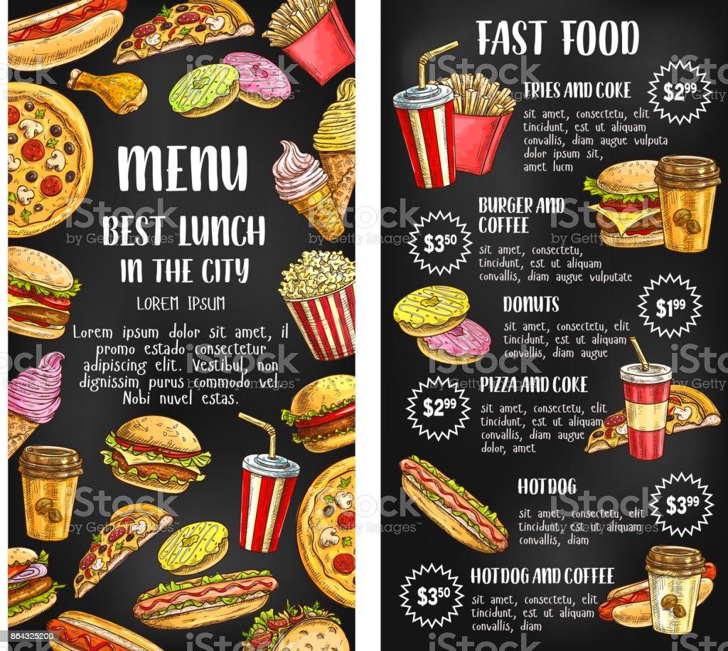 Fast food restaurant menu banner on chalkboard vector art illustration