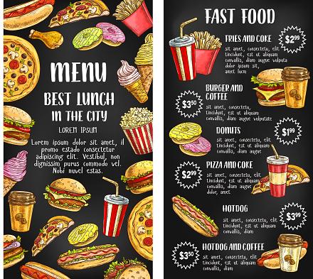 Fast Food Restaurant Menu Bannière Sur Tableau Noir Vecteurs libres de droits et plus d'images vectorielles de Affiche