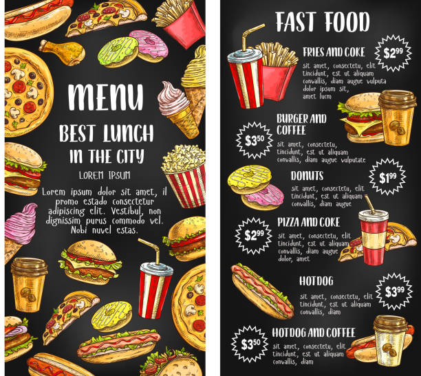 fast food restaurant menu banner on chalkboard - junk food stock illustrations, clip art, cartoons, & icons