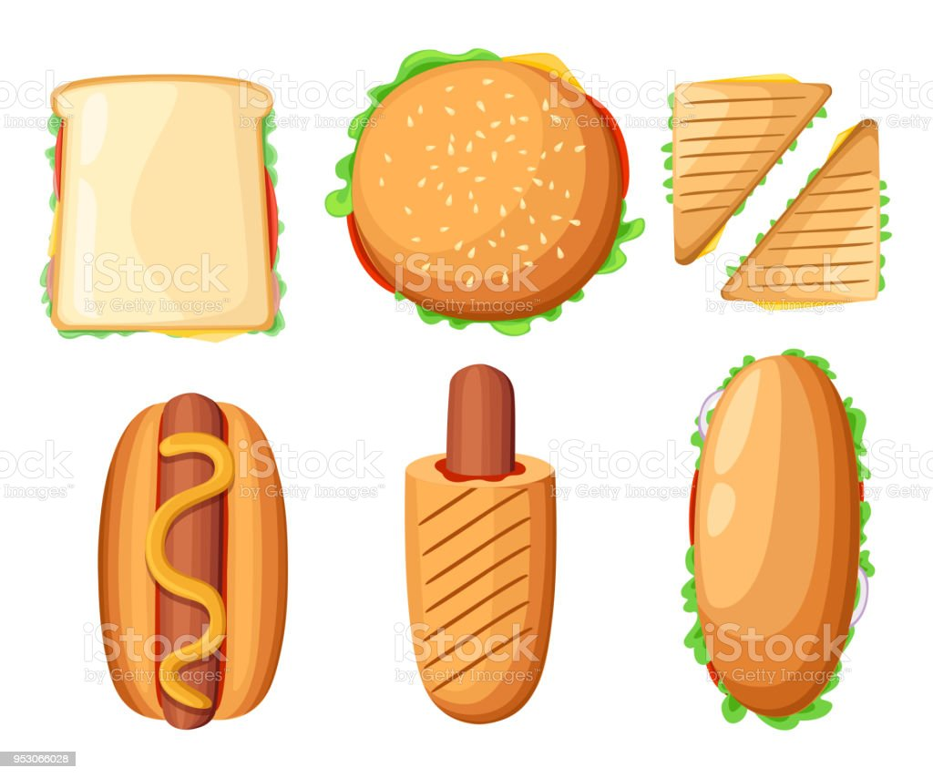 Fast Food Restaurant Menu Colorful Icons Collection With Hotdog ...