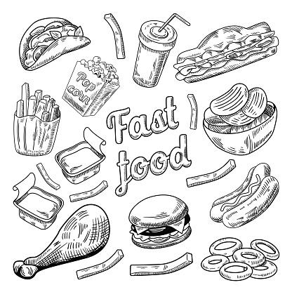 Fast Food Restaurant Menu. Hand Drawn Burger