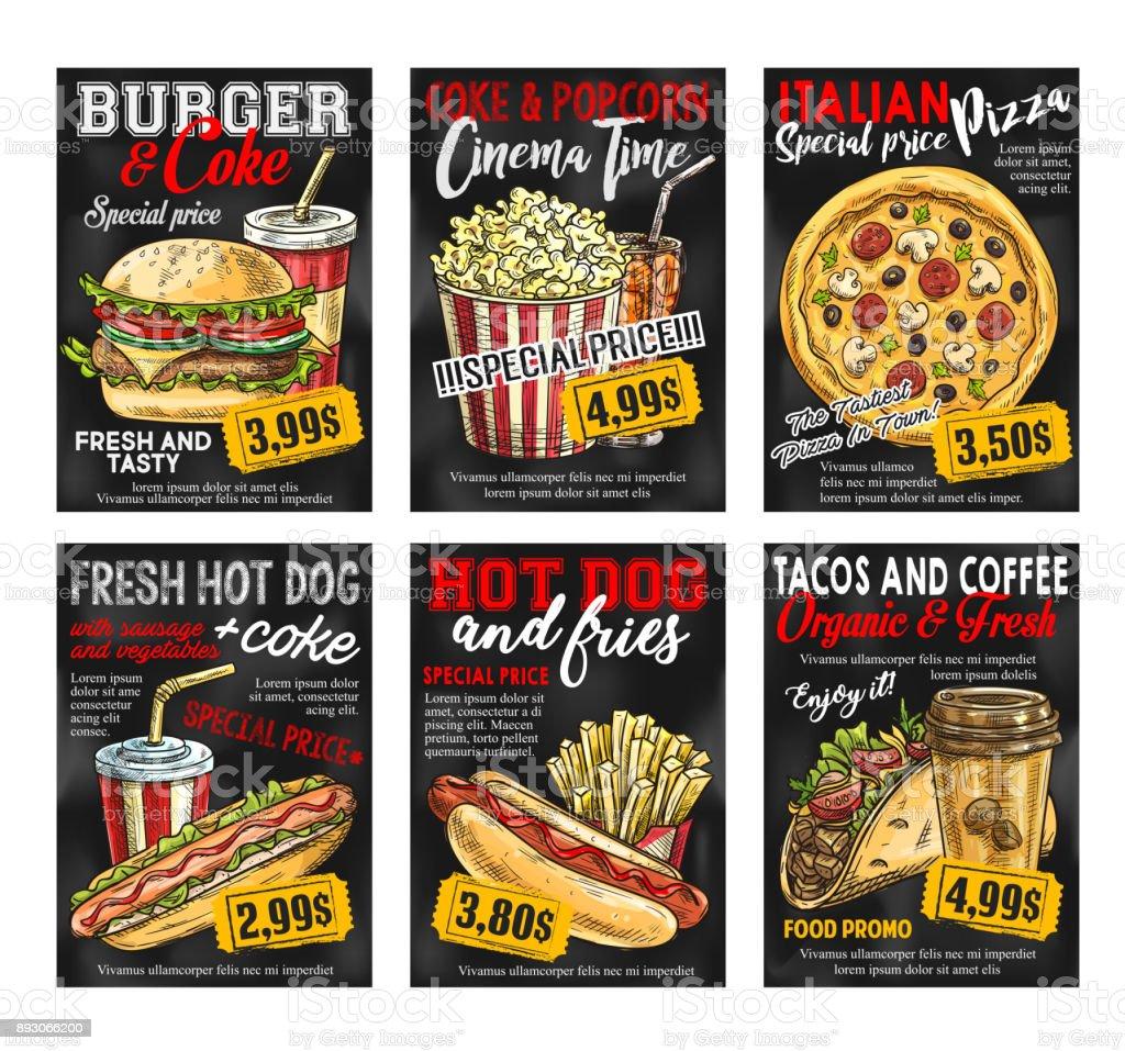 Fast food restaurant menu price card on blackboard vector art illustration