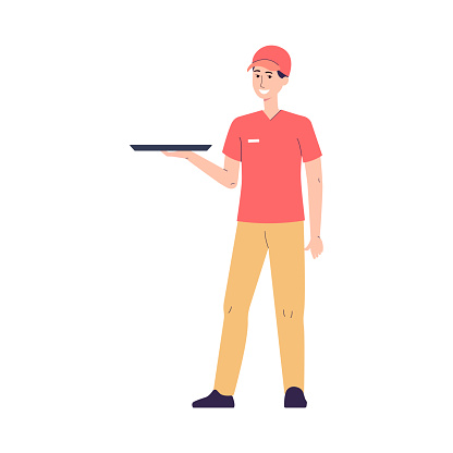 Fast food restaurant worker character flat vector illustration isolated.
