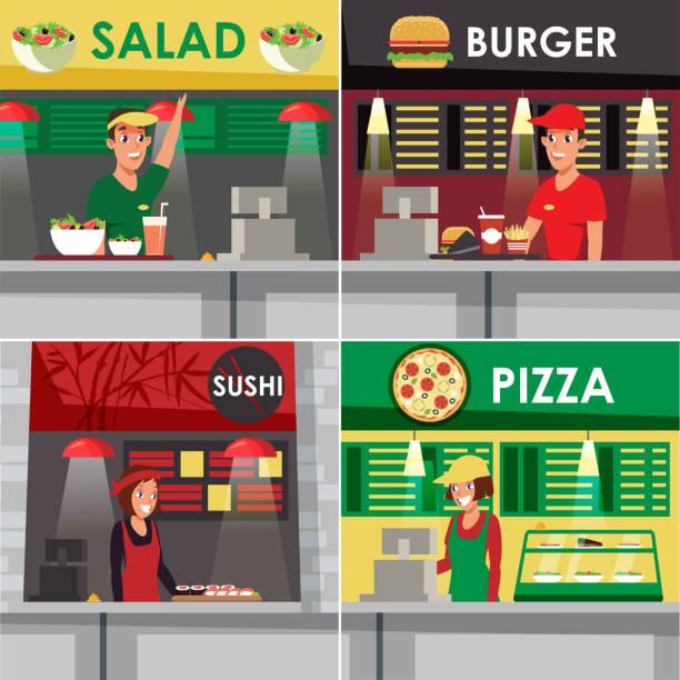 fast-food-restaurants, cafeterias flache vektor-illustration - salatbar stock-grafiken, -clipart, -cartoons und -symbole