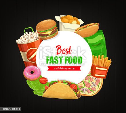 istock Fast food round banner vector street combo meals 1302213911