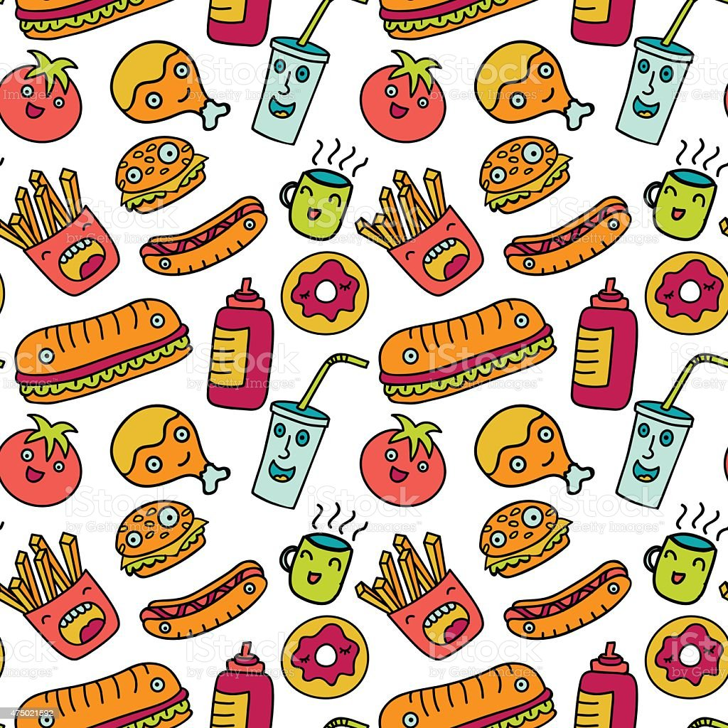 Fast Food Seamless Background Funny Cartoon Characters