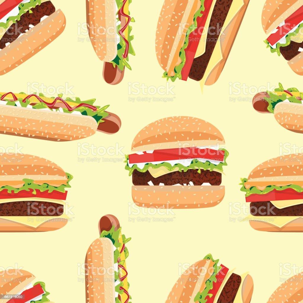 Fast Food seamless pattern hamburger and Hot Dog vector art illustration