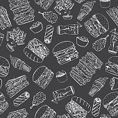 Fast food seamless pattern in doodle style.You can use each element separately.