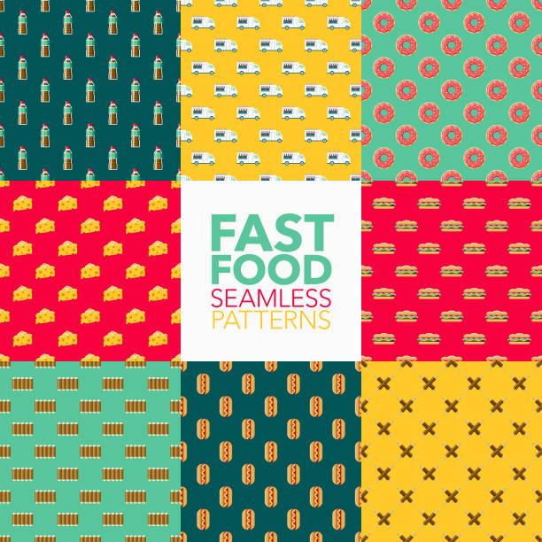 bildbanksillustrationer, clip art samt tecknat material och ikoner med fast food sömlösa mönster uppsättning - cheese sandwich