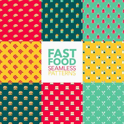 Fast Food Seamless Pattern Set