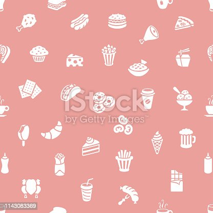 Fast food restaurant seamless pattern