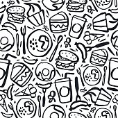 Fast food seamless pattern in brush drawing style. Black print on white background