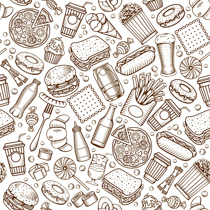 Fast Food Seamless Pattern in Hand Drawn Doodle Style with Different Objects on Fast Food Theme. All elements are separated and editable. Vector stock Illustration.