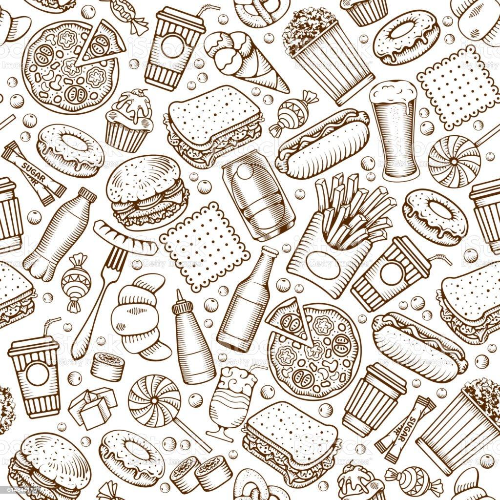 Fast Food seamless pattern vector art illustration