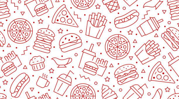 fast food nahtloses muster mit vektor-linie-icons von hamburger, pizza, hot dog, getränk, cheeseburger. restaurant menü hintergrund, leckere ungesundes mittagessen - schnellkost stock-grafiken, -clipart, -cartoons und -symbole