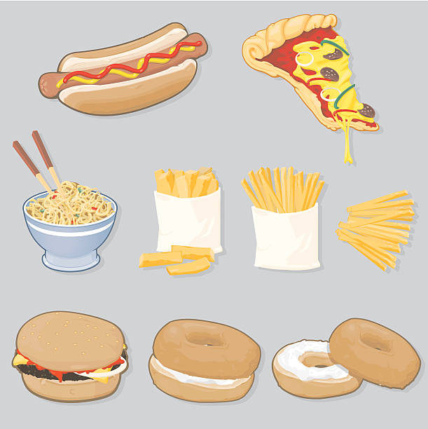 stockillustraties, clipart, cartoons en iconen met fast food selection - bargerecht