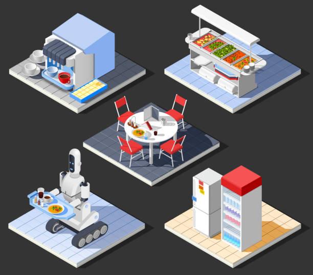 ilustrações de stock, clip art, desenhos animados e ícones de fast food self service restaurant isometric interior - kitchen counter