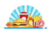 Burger, french fried, pizza, donut and cola. Fast food set composition. Flat style Vector illustration.
