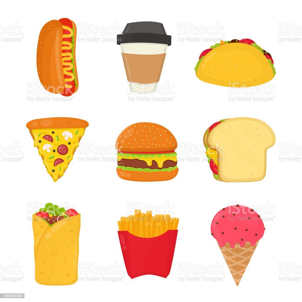 Fast food set. French fries, hot dog, ice cream, drink, sandwich, pizza, burger, vector art illustration