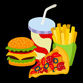 Fast food set. Hamburger, french fries, hot dog and soft drink in cup with straw.