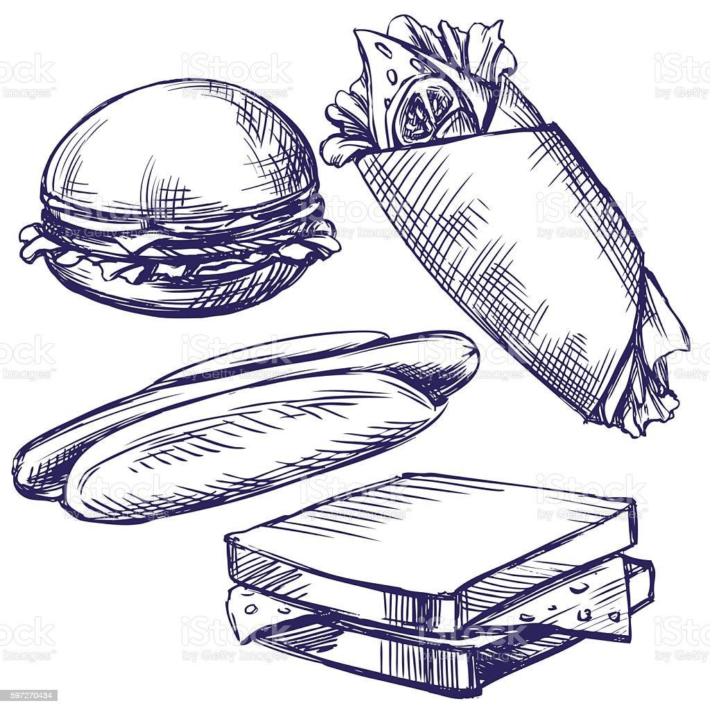 fast food set hand drawn vector llustration realistic sketch Lizenzfreies fast food set hand drawn vector llustration realistic sketch stock vektor art und mehr bilder von burger